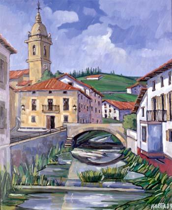 Cuadro de Ubidea (Ubide). Plaza y parroquia.